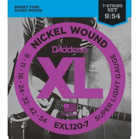 D'Addario EXL120-7 Elektromos gitárhúr szett