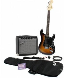 Squier Affinity Series Stratocaster HSS Brown Sunburst Pack elektromos gitár szett